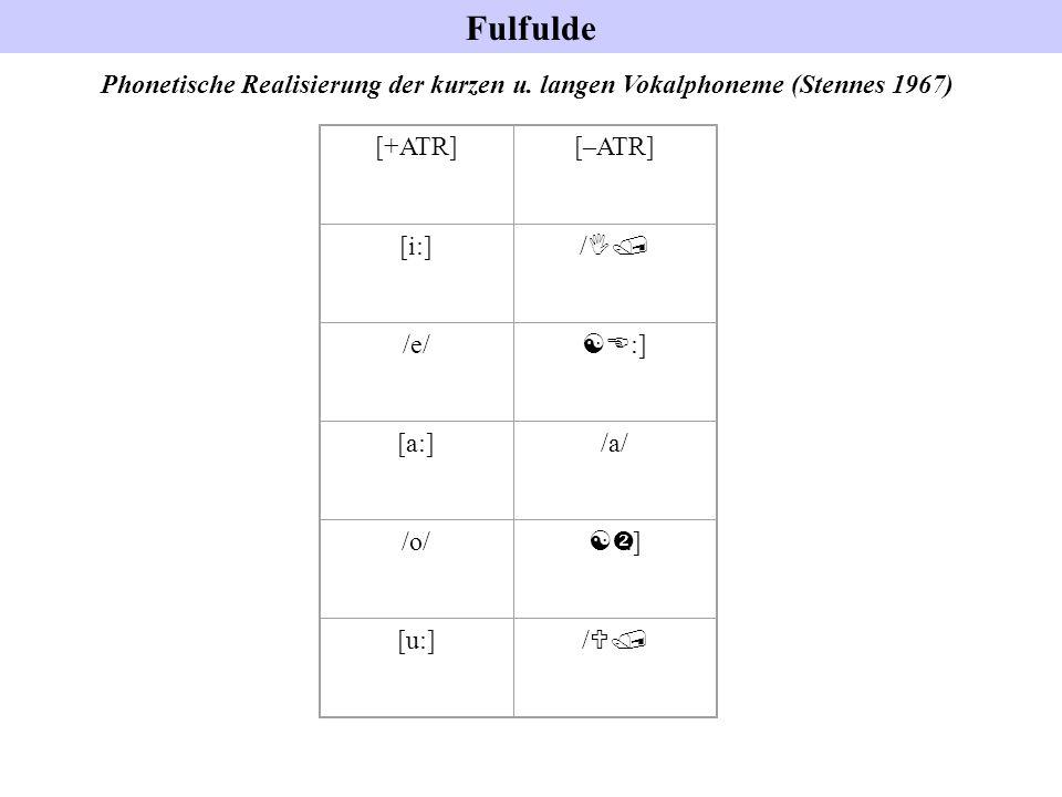 Fulfulde Phonetische Realisierung der kurzen u. langen Vokalphoneme (Stennes 1967) [+ATR] [–ATR] [i:]